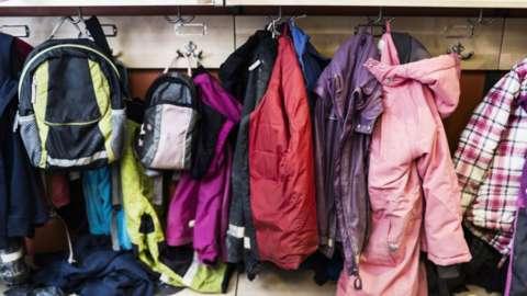 coats hanged up