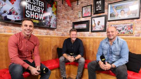 Tommy Bowe, Gavin Andrews and Rory Best