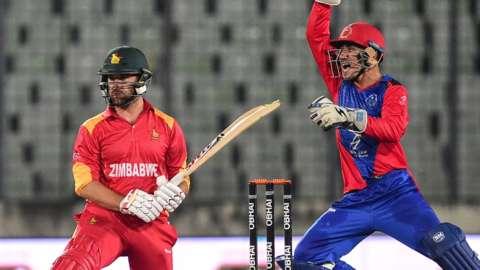 Zimbabwe's Ryan Burl in action against Afghanistan