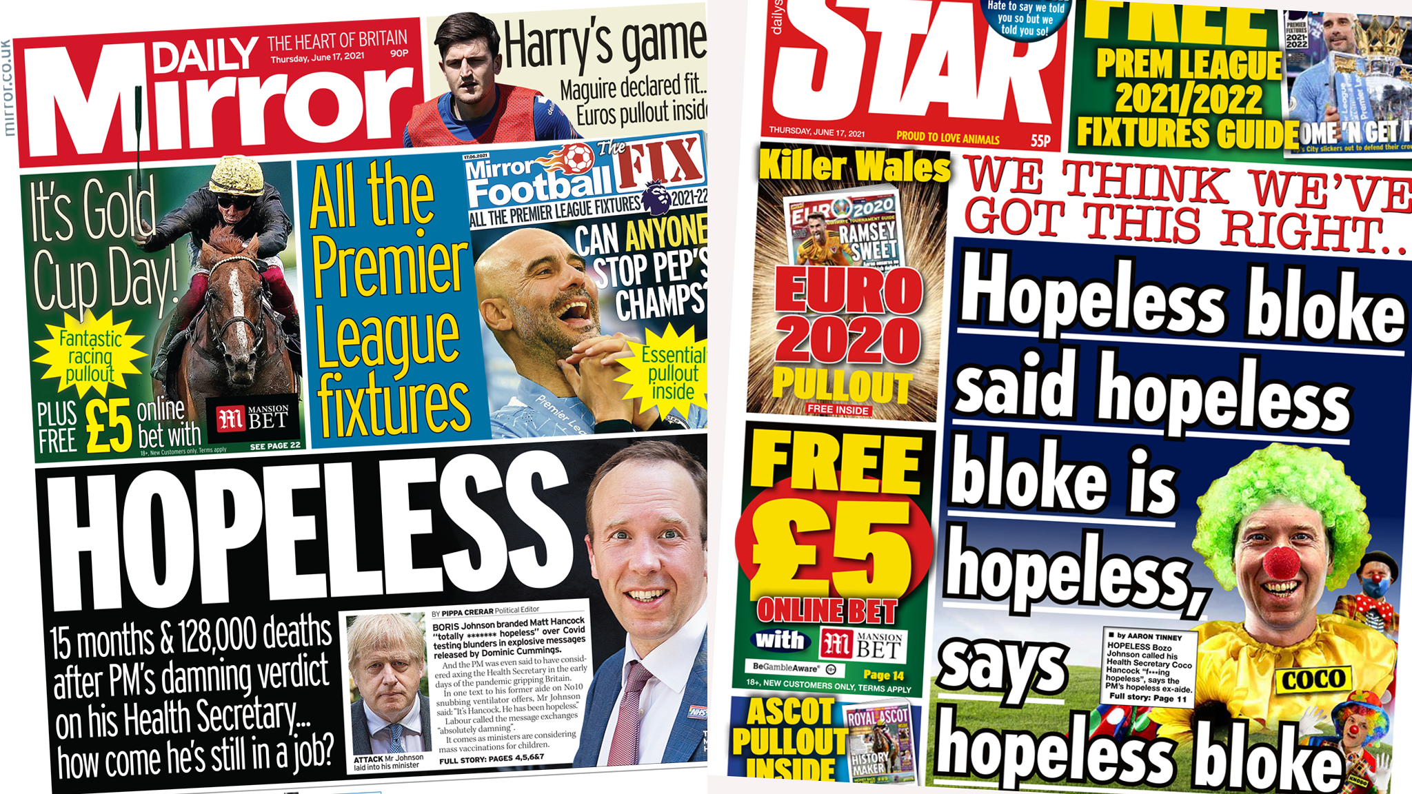 Daily Mirror and Daily Star front pages