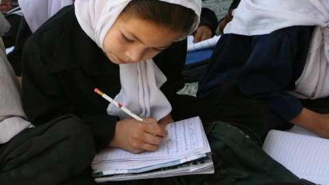 Girl at school in Kabul