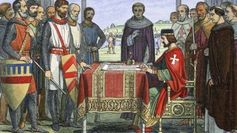 King John signs the Great Charter, as painted by James William Edmund Doyle in 1864