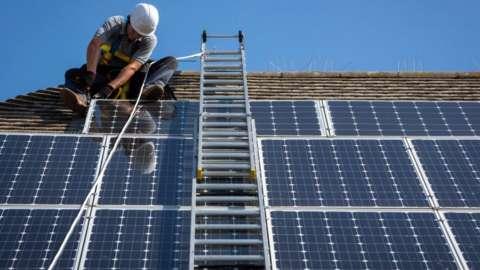 Work on solar panels