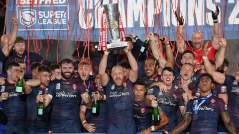 St Helens celebrating their Grand Final win at Old Trafford