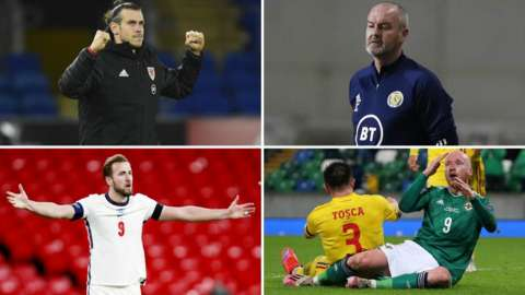 Gareth Bale, Steve Clarke, Harry Kane and Liam Boyce