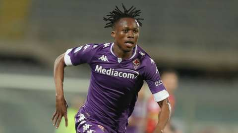 Ivory Coast's Christian Kouame in action for Italian club Fiorentina