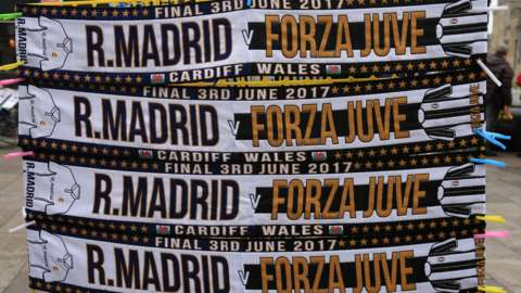 Real Madrid and Juventus scarves