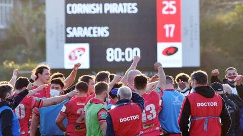 Cornish Pirates celebrate their win over Saracens