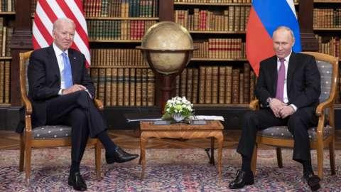 Joe Biden and Vladimir Putin at the summit in Geneva (16 June)