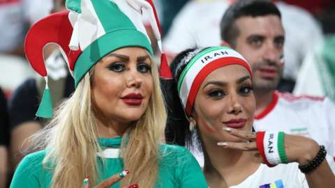 Female Iranian football fans attend a an AFC Asian Cup quarter-final between China and Iran in January 2019 in Abu Dhabi