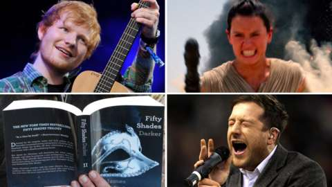 Clockwise from top left: Ed Sheeran, Star Wars:The Force Awakens, Matt Cardle, Fifty Shades of Grey