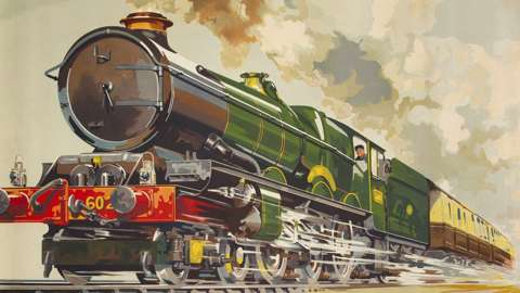 Poster illustrating a 'King' class locomotive on a holiday train for the West Country