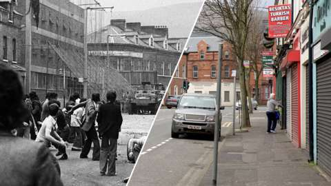Springfield Road, Belfast 1976 and 2020