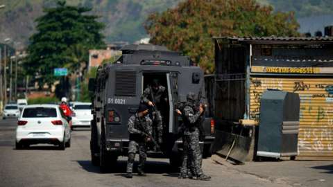 Civil Police officers at the Jacarezinho favela