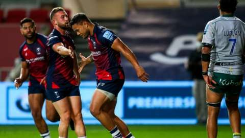 Bristol winger Alapati Leuia scored the second of his side's seven tries in the thumping win at home to Northampton