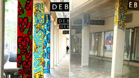 Before and after of Cardiff city centre mural