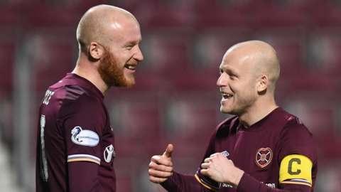 Hearts strikers Liam Boyce and Steven Naismith celebrate