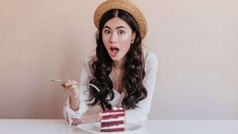 Lady eating cake