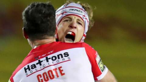 Theo Fages celebrates his drop-goal winner for St Helens