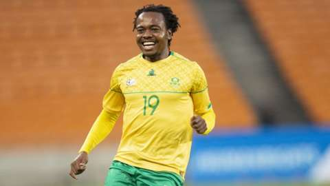 Percy Tau smiles after scoring for South Africa against Ghana in an Africa Cup of Nations qualifier in March 2021