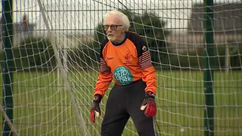 Eighty-eight year old Alan Camsell is now playing with the grandsons of his original teammates.