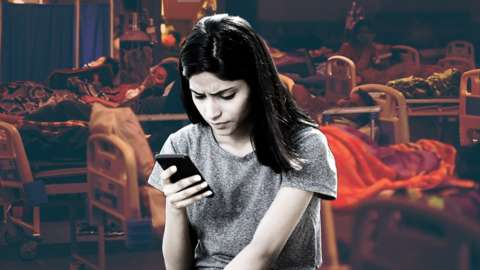 Stock image of girl on cell phone