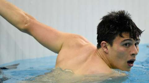 Great Britain's Joe Choong swims at the Modern Pentathlon World Cup