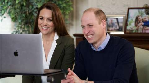 Kensington Palace handout photo of the Duke and Duchess of Cambridge during a video call to people with health conditions about the positive impact of the COVID-19 vaccine.