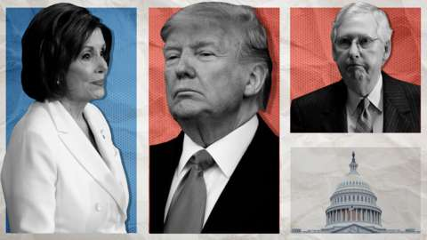 Nancy Pelosi, Donald Trump and Mitch McConnell