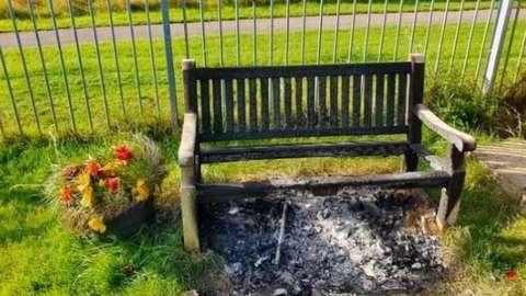 The burnt bench at Cadbury Heath FC in Bristol