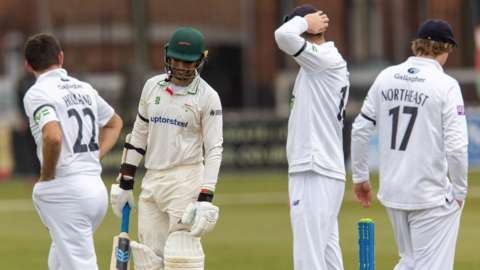 Leicestershire and Hampshire players all wore black armbands from the afternoon session onwards following news pf the sad passing of the Duke of Edinburgh