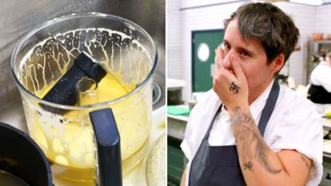 A split of ruined mayonnaise and the Great British Chef contestant