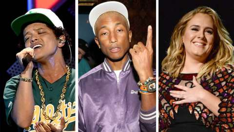 Bruno Mars, Pharrell Williams and Adele