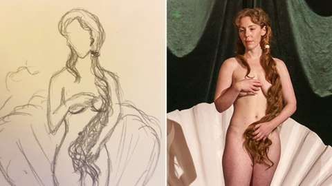 Sketch and life model