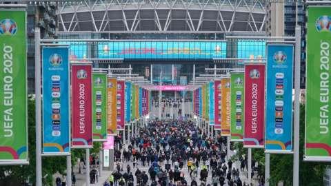 Fans outside Wembley