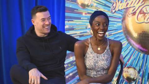 Stars of Strictly laugh backstage