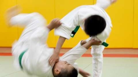 To boys judo fighting