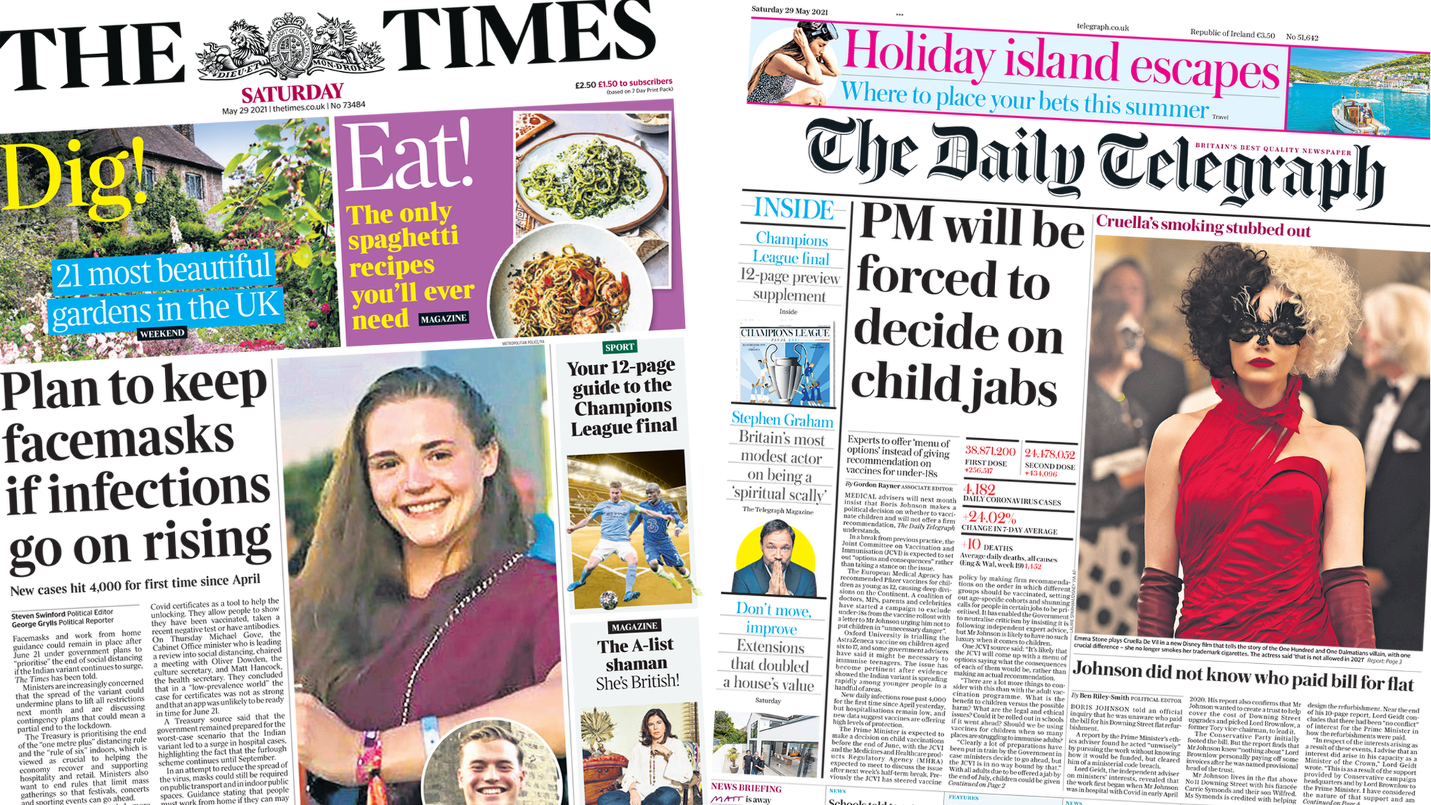 Front pages for 29 May 2021