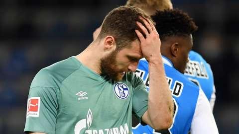 Shkodran Mustafi of FC Schalke 04 reacts during the German Bundesliga soccer match between Arminia Bielefeld and FC Schalke 04