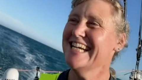 """Pip Hare, 46, says it is """"incredible"""" men and women compete in the Vendée Globe """"on equal terms""""."""