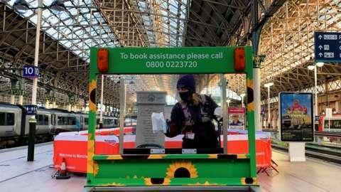 Rail staff keep the station clean