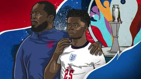 Illustration of Chris Powell supporting Bukayo Saka after England's Euro 2020 final loss