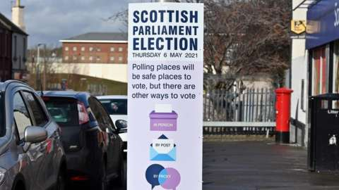 Scottish parliament election sign