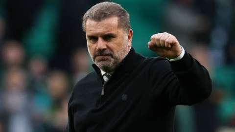 Celtic manager Ange Postecoglou celebrates victory against Ferencvaros
