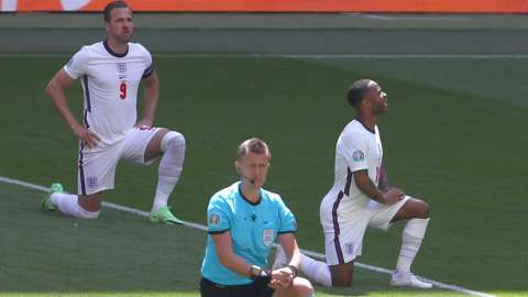 England's players take the knee before the Euro 2020 game with Croatia at Wembley