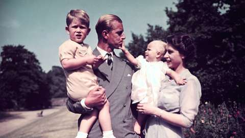 Prince Philip with the Queen and his children