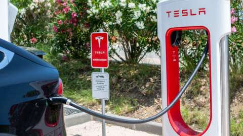Tesla car charging point in Barcelona