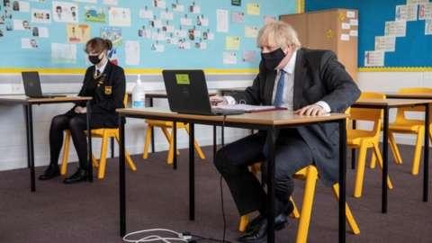 Boris Johnson on a school visit
