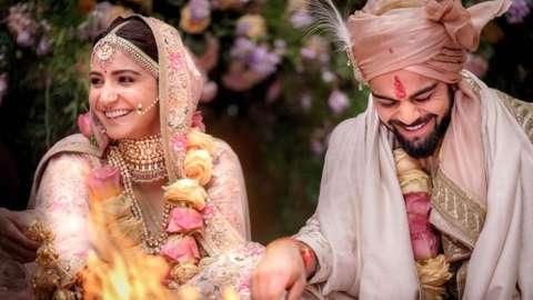 Bollywood actress Anushka Sharma and Indian cricketer Virat Kohli at their wedding ceremony in Buoncovento near Siena, Italy, 11 December 2017
