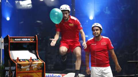 Morocco's Yahya El Hajouji in action with Spain's Jan Franquesa during the Balloon World Cup